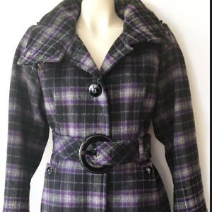 Soia & Kyo Jackets & Coats - SOIA KYO UKRAINE WOOL PURPLE PLAID JACKET COAT L